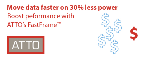 Move data faster on 30% less power with ATTO's FastFrame™ Ethernet Adapters